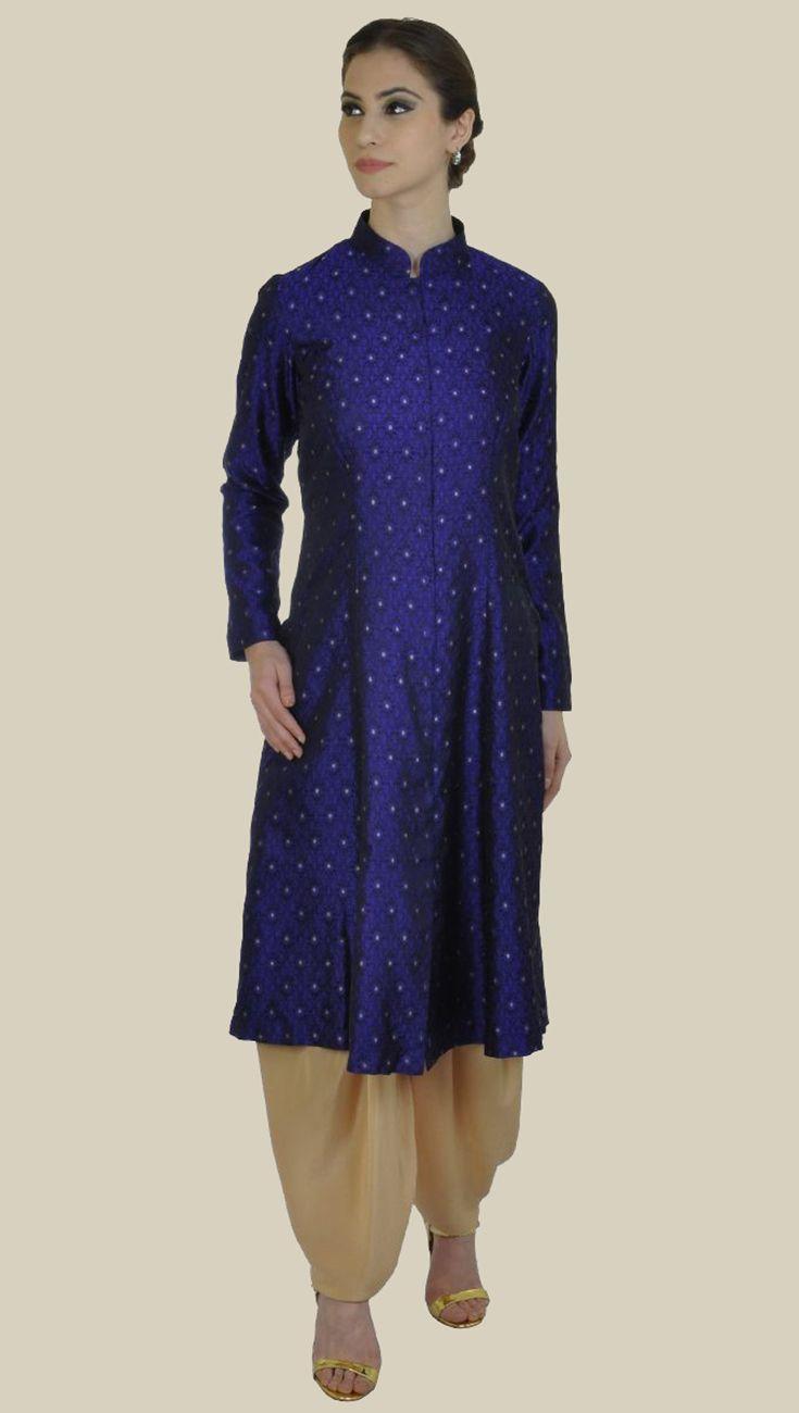 Blackblue handwoven tanchoi pure silk resham and zari weave jacket