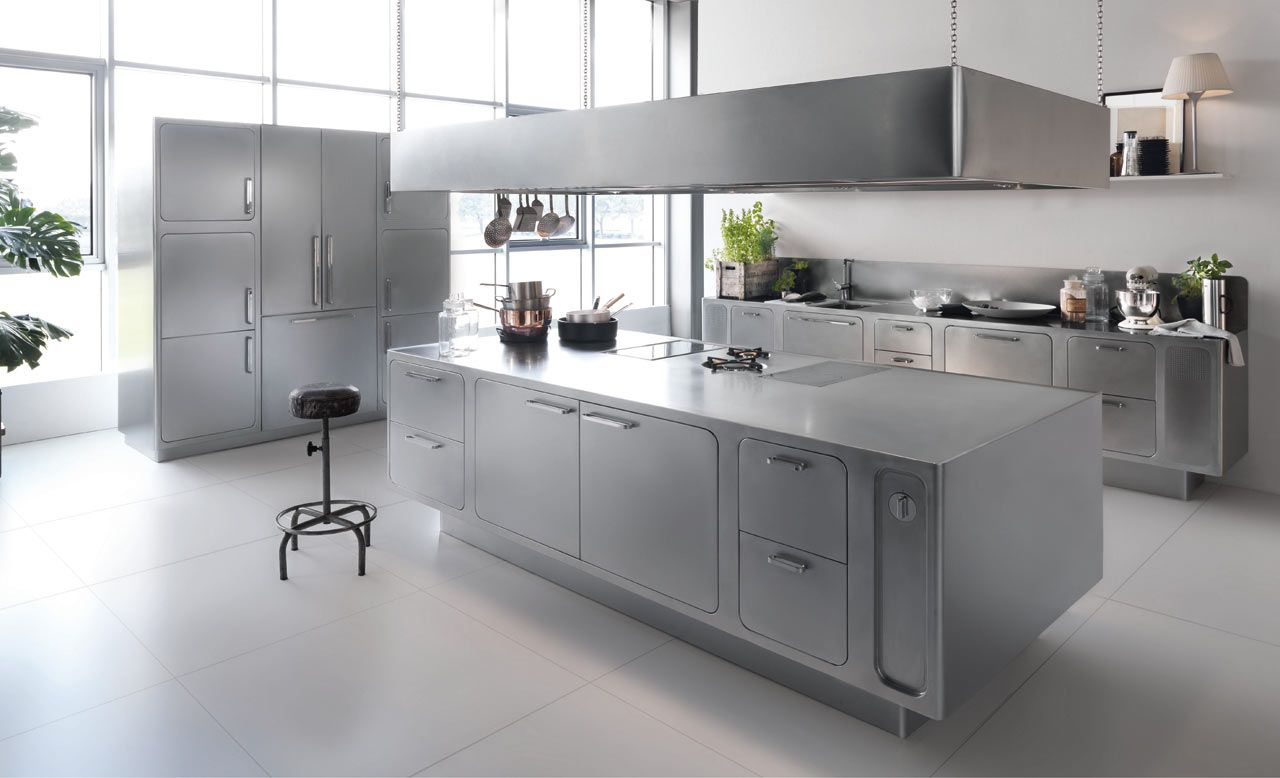 A Stainless Steel Kitchen Designed For At Home Chefs Modern Kitchen Design Stainless Steel Kitchen Design Stainless Kitchen