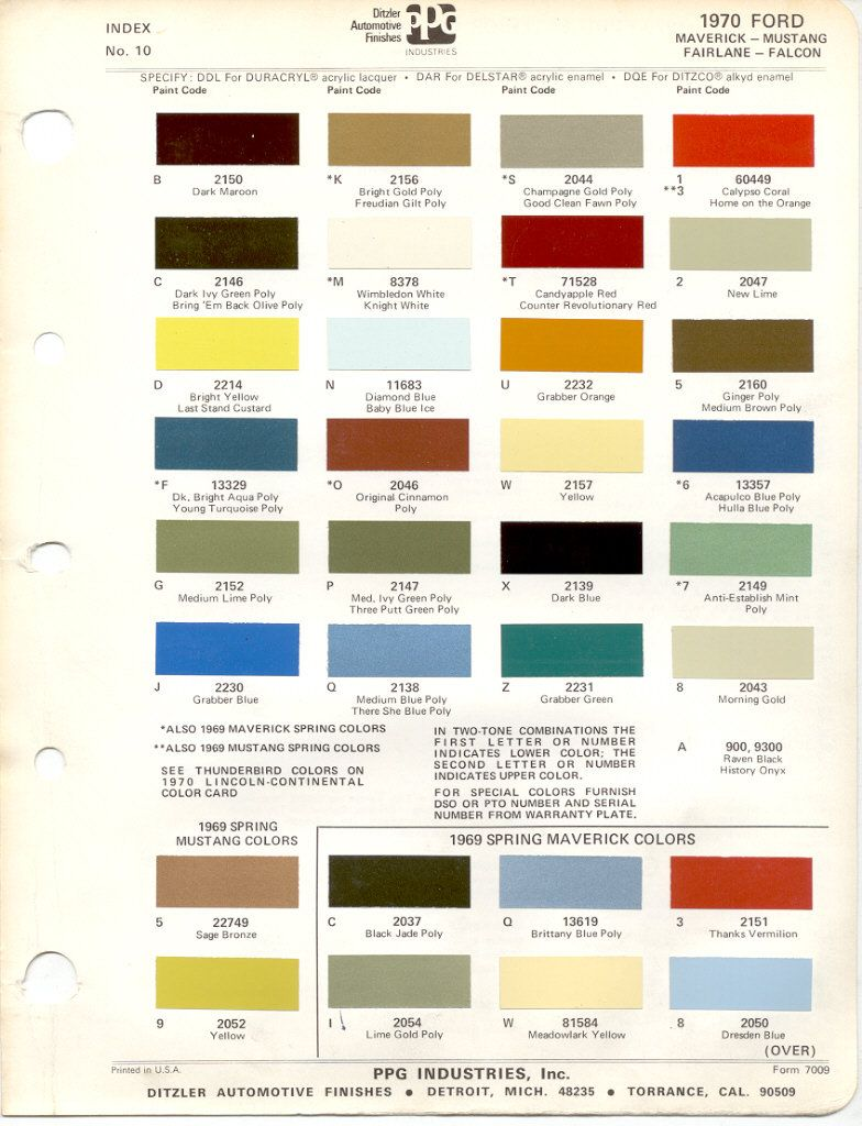 1972 Ford Mustang Paint Colors