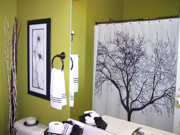 Stylish Bathroom Updates | Tree shower curtains, Empty wall spaces ...