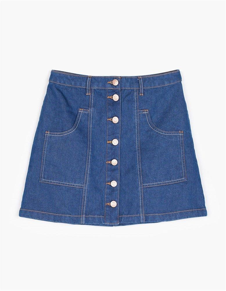 c83646b41a 15 faldas con botones para ir a la última esta primavera en 2019 ...