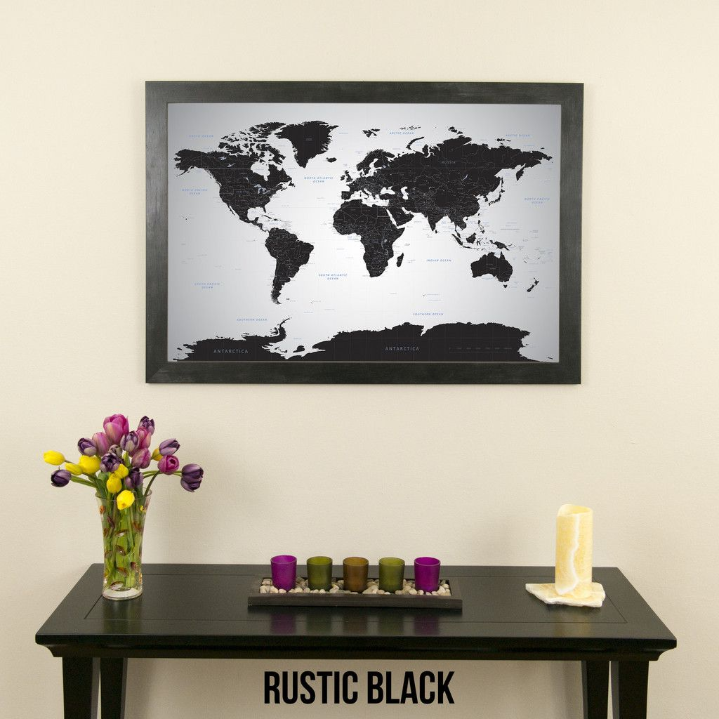 Black Ice World Travel Map with pins   Travel maps