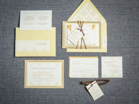 Yellow Wedding Invitations Rustic Wedding by JulieHananDesign