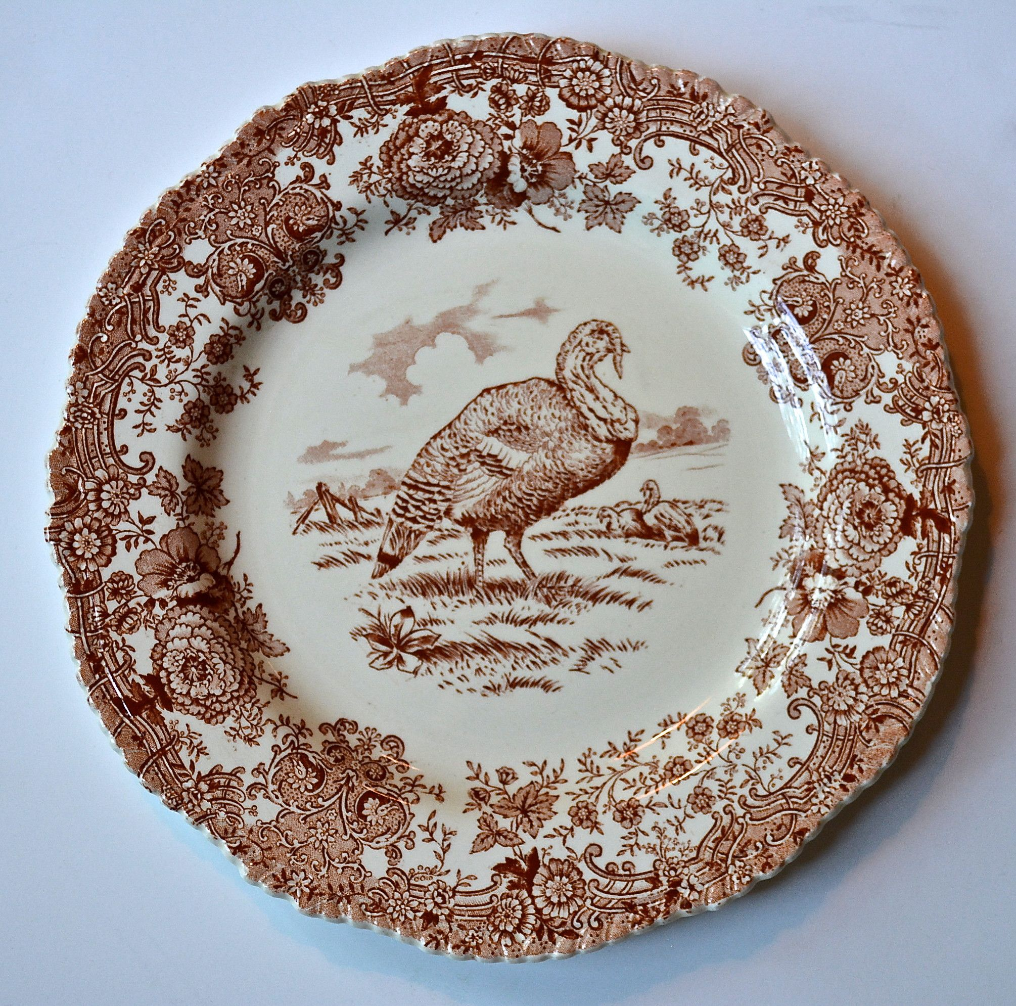 Antique Turkey Plate Brown Transferware Staffordshire China Thanksgiving Dinner Plate Tom Turkey Ridgway Staffordshire Beehive St& & Antique Turkey Plate Brown Transferware Staffordshire China ...