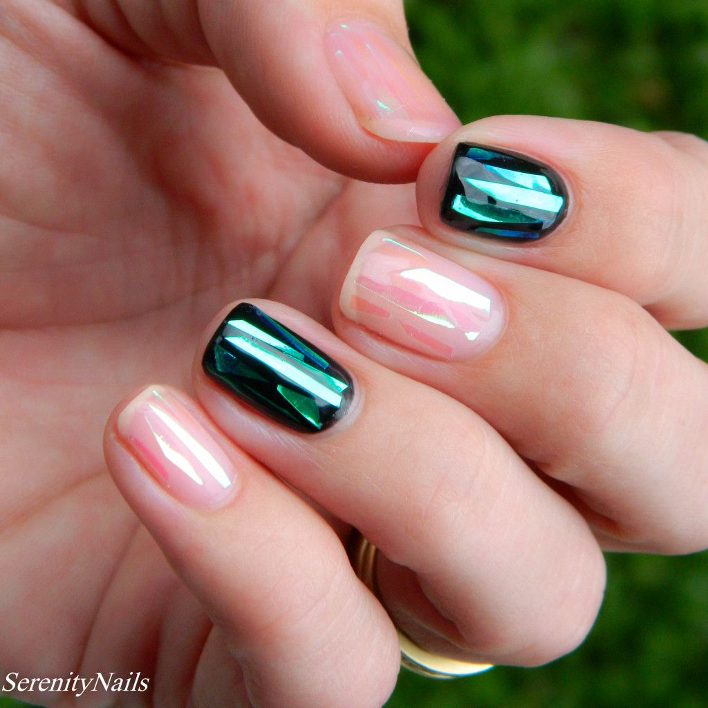 Shattered Glass Effect Nails | Korean nail art | Pinterest | Glass ...