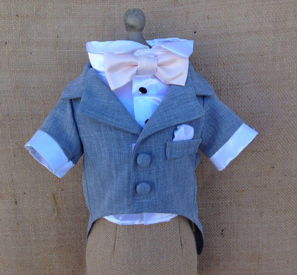 Grey Dog Tuxedo and Satin Shirt (custom tuxedo and bow colors ...