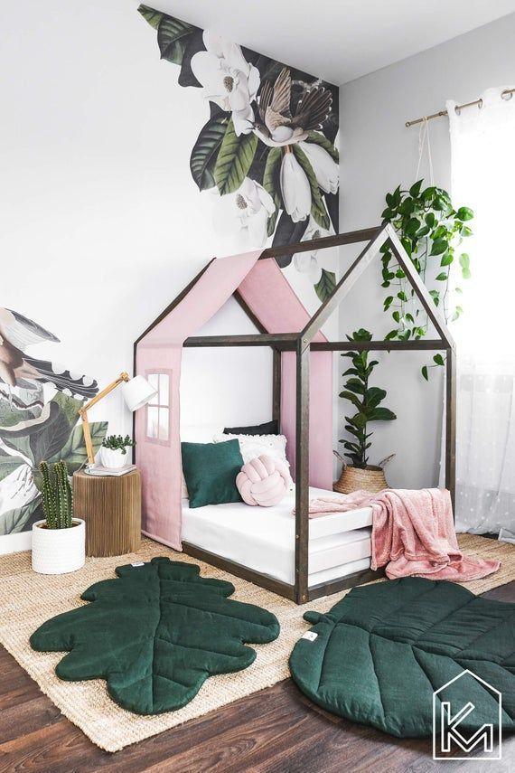 Lit pour enfants de taille jumelle des USA avec le couvert et les rails roses de lin pastel, lit de maison, lit denfant en tout-petits, lit de bébé en bois, cadre de lit de maison de jeu, lit de plancher