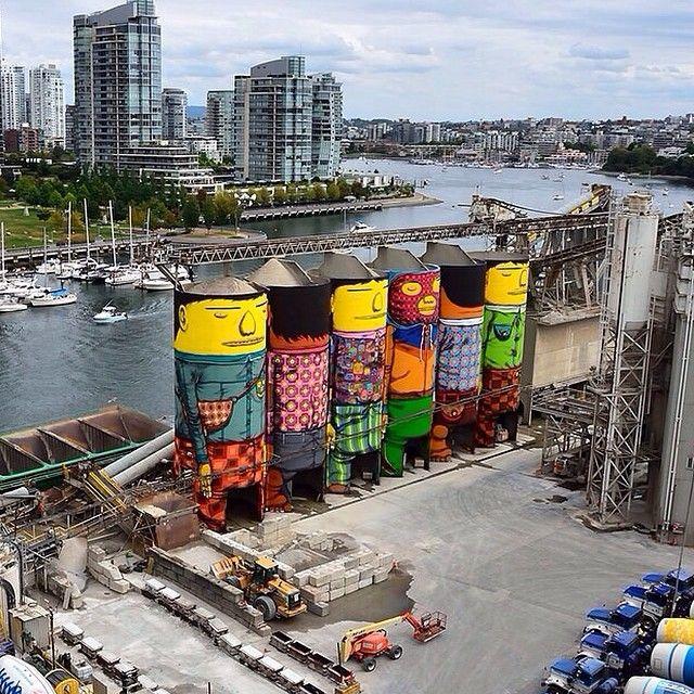 novatekart работа бразильских художников #osgemeos в г. #ванкувер #канада расписали 6 силосных башен компании #oceanconcrete общей площадью около 7162 кВ.м. Мечтаем поработать на таких нестандартных поверхностях в России! / The Brazilian twin duo Os Gemeos painted 6 industrial Ocean Concrete silos. The mural is about 7162 sq.m. (23500 sq. feet). The project is part of the #Vancouver #biennale. #canada #art #streetart #graffiti #mural #awesome #perfect #wow #silos #industrial #amazing #nice