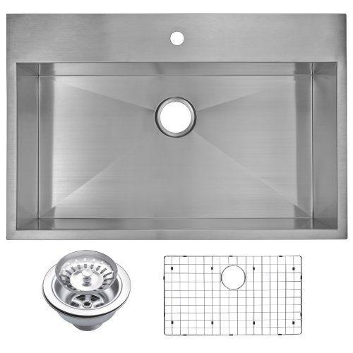 Water Creation Sssg Ts 3322a 33 X 22 Zero Radius Single Bowl Stainless Steel Single Bowl Kitchen Sink