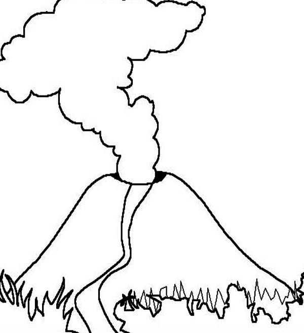 Volcano With Magma Eruption Coloring Page Coloring Pages Volcano Drawings