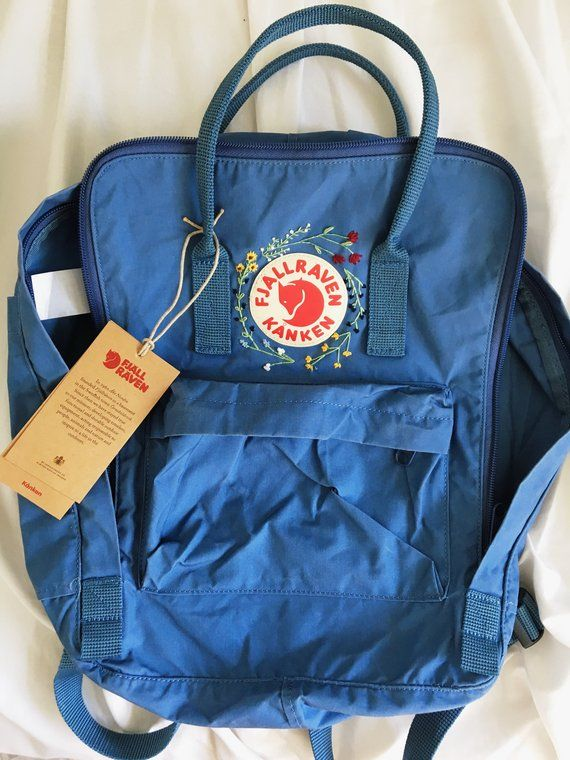 Customizable wildflower hand embroidered fjallraven kanken backpack ... fb61c06249980
