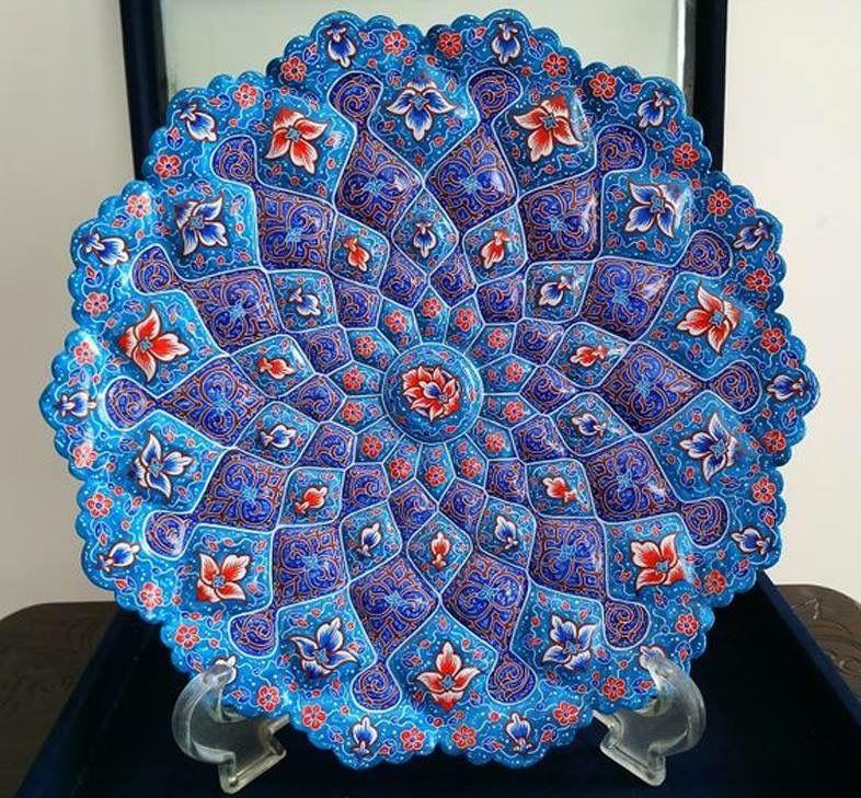 A beautiful hand painted Persian Minakari enamel plate ...