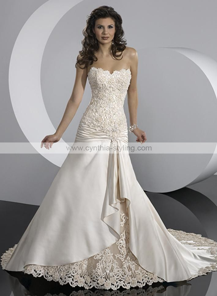 strapless ruched wedding gown with lace | satin lace A-line ...
