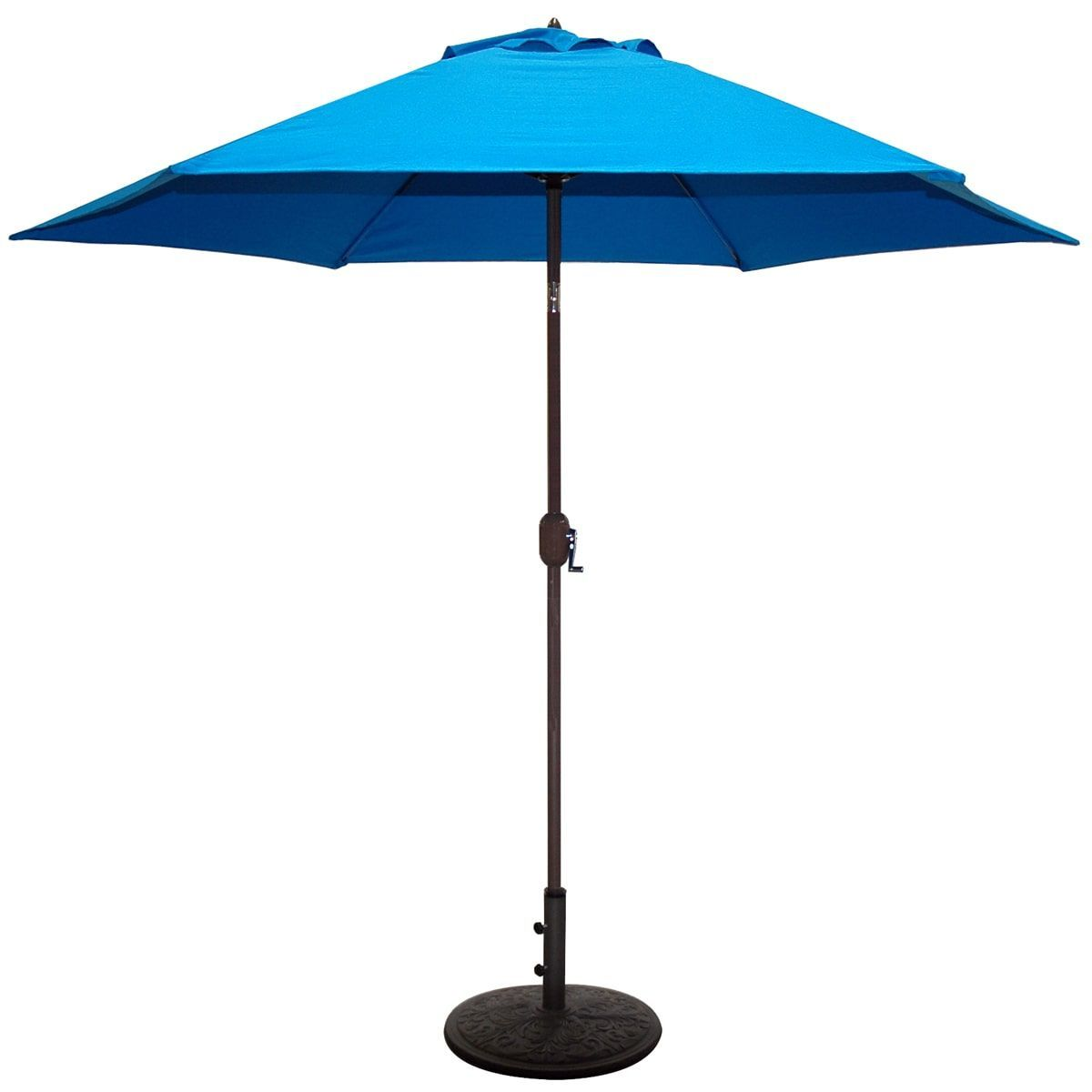 Aluminum Bronze Patio Umbrella With Blue Cover (9 Bronze Aluminum Umbrella