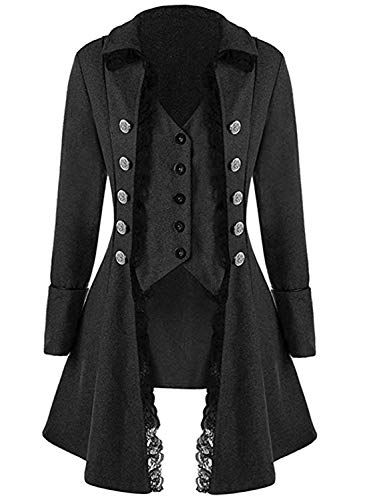 VNVNE Womens Gothic Steampunk Corset Halloween Costume Coat Victorian Tailcoat Jacket