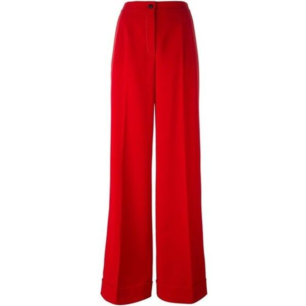 DOLCE GABBANA stitch detail palazzo pants ($1,245) ❤ liked on Polyvore featuring pants, red palazzo, high waisted trousers, wide leg trousers, high-waisted wide leg pants, long palazzo pants and high-waisted pants