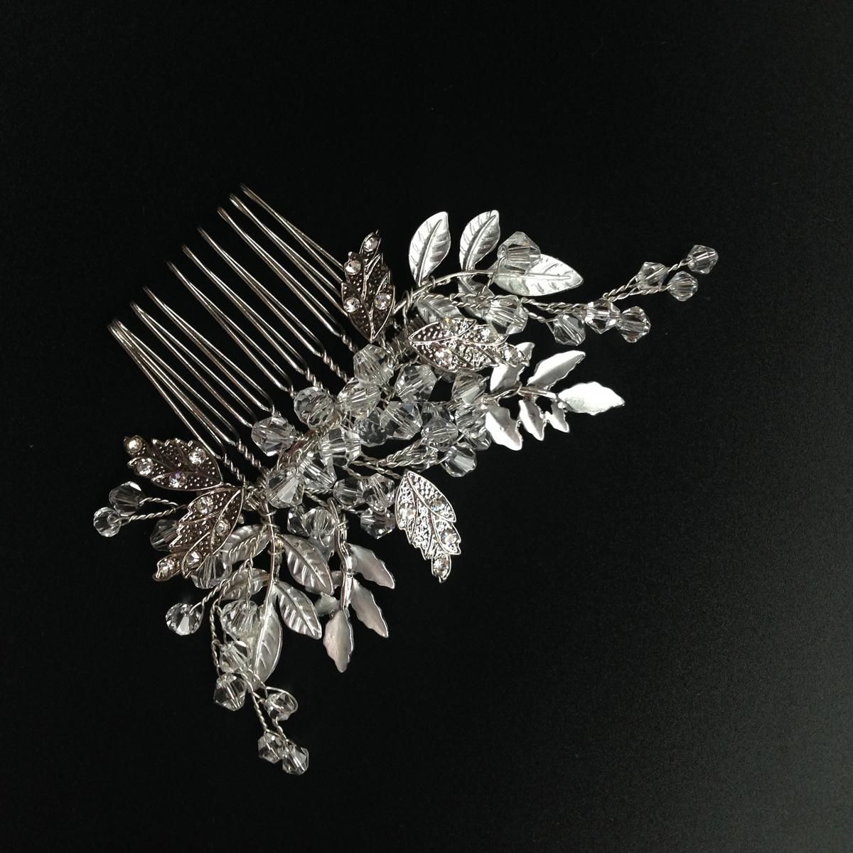 chic wedding hair comb silver plated hand wire bridal head
