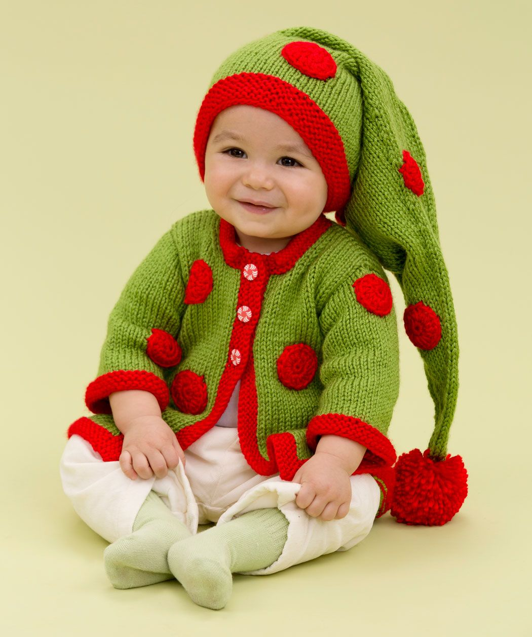 b51792908686 Santa s Baby Elf Free Knitting Pattern from Red Heart Yarns
