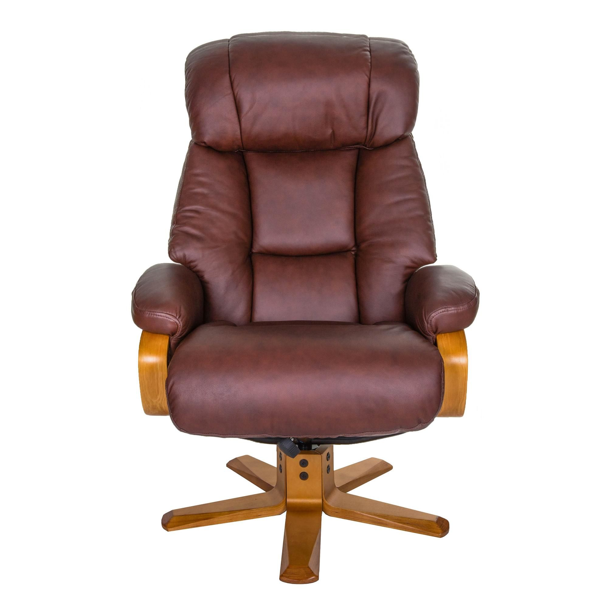 Nice Real Leather Swivel Recliner Chair And Footstool In 2020 Swivel Recliner Chairs Swivel Recliner Recliner