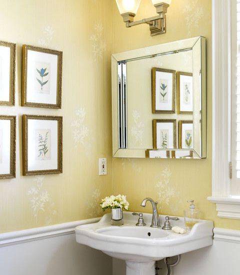 Yellow Bathroom Paint: Powder Room Yellow Wallpaper Design, Pictures, Remodel