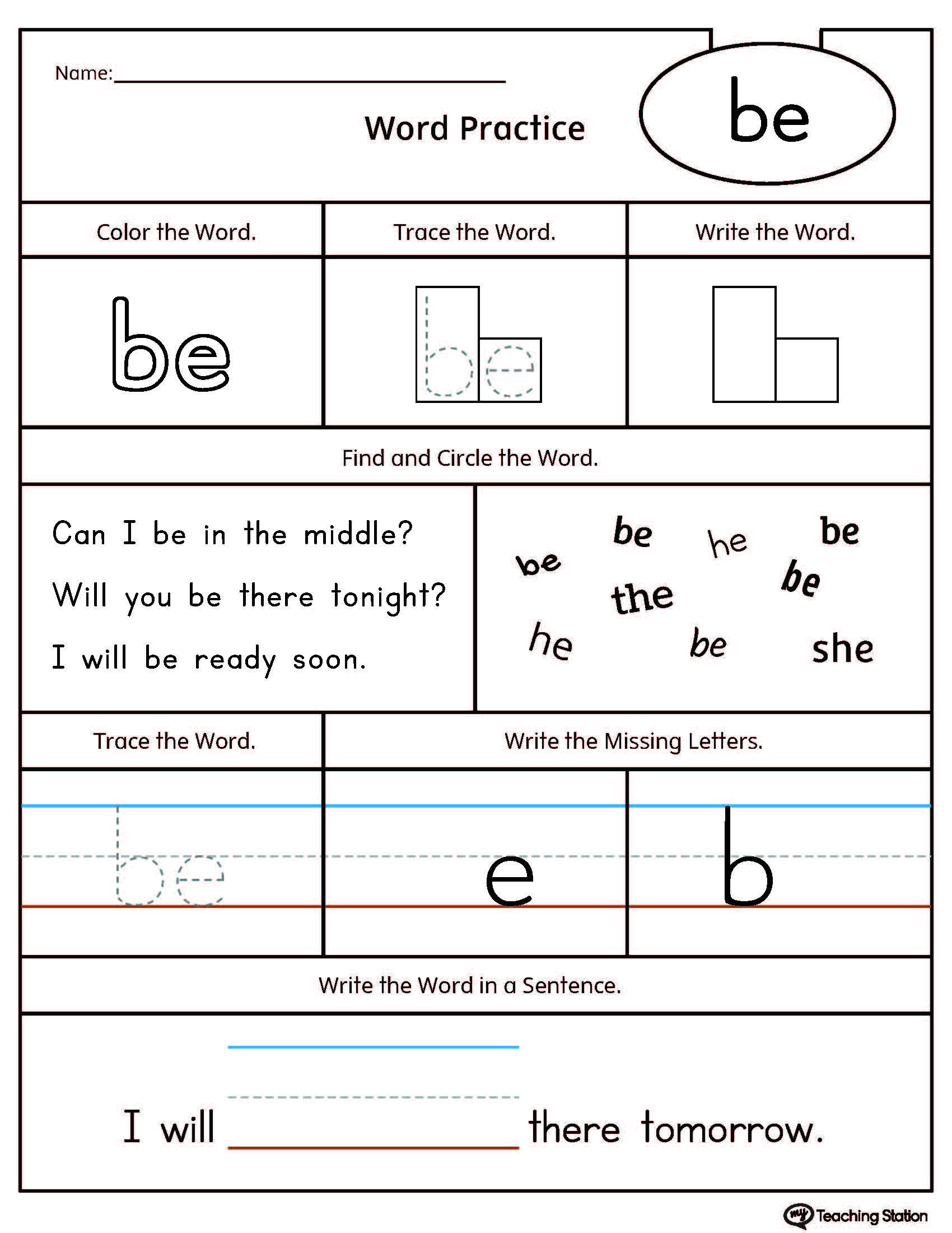 High-Frequency Word BE Printable Worksheet | Sight word ...