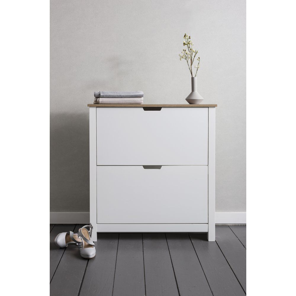 Merveilleux Tromso Shoe Storage Unit In White And Natural Shoe Cabinet