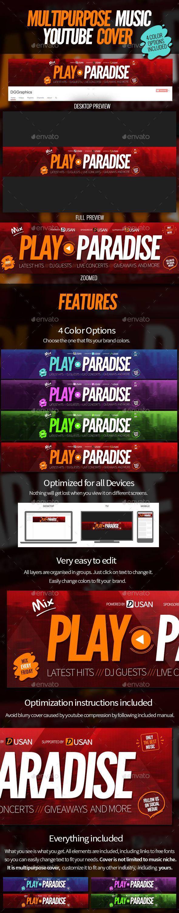Multipurpose Music Youtube Cover Template Psd Download Https