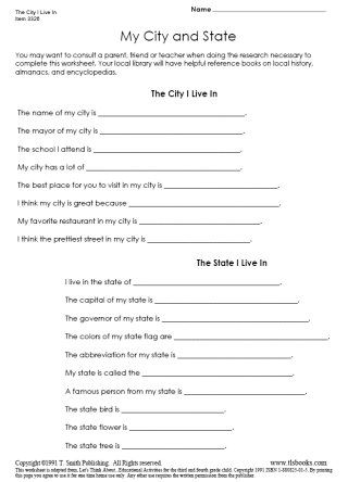 Snapshot image of The City and State I Live In worksheet