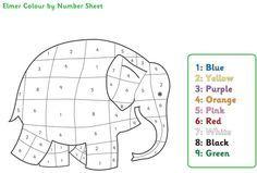 Elmer The Elephant Colour By Numbers Elmer L Elephant Elmer