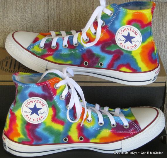 6f07a75e7e92 Adult sz 7-13 MADE to ORDER ... Tie-Dye Converse Hi Top Sneakers in ...