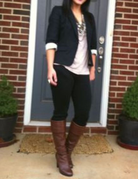 Blazer & necklace, camel boots