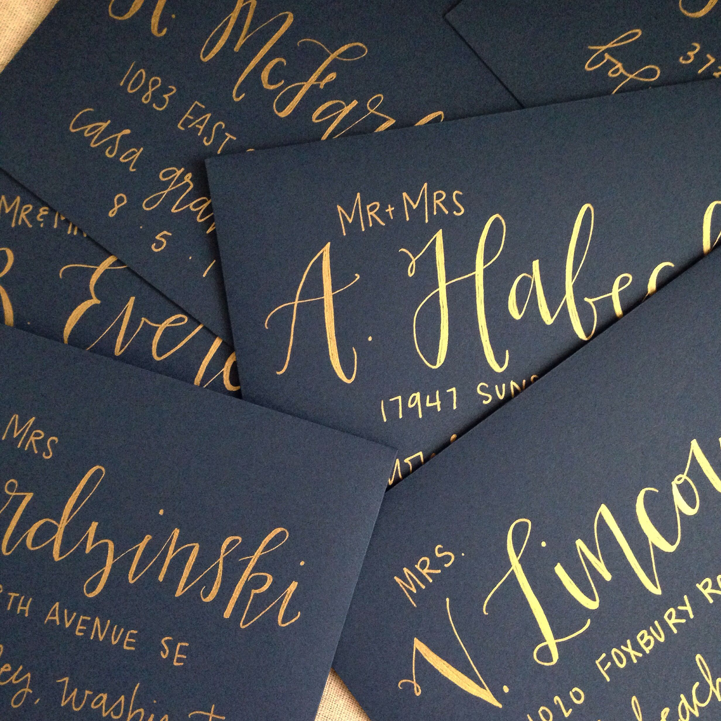 Gold Ink Wedding Calligraphy