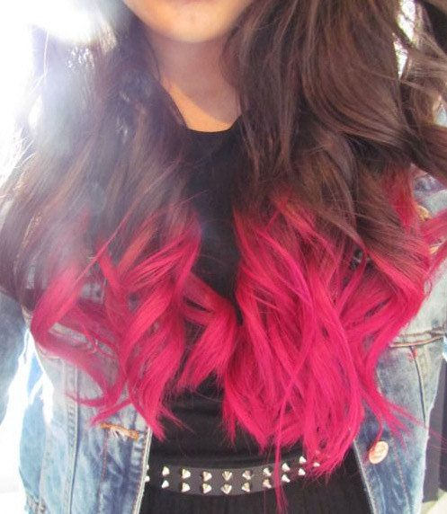 Bright pink long hair dont care pinterest pink dip dye full head hot pink dip dye ombre hair clip in extensions pmusecretfo Image collections