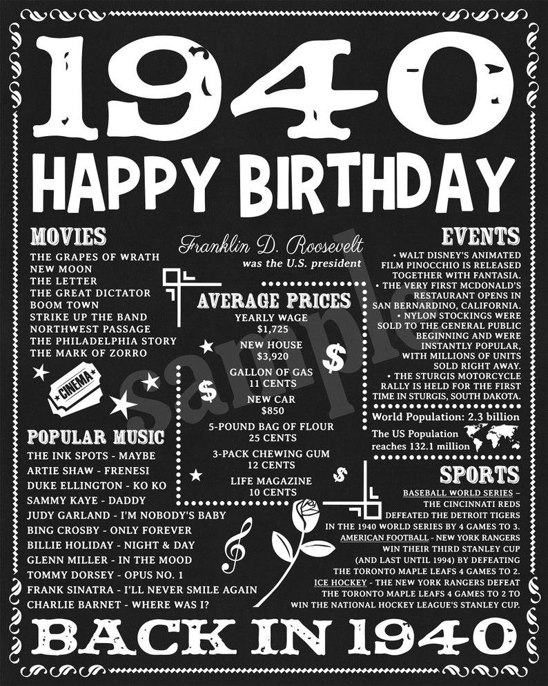 1940 Facts 80th Birthday Party Birthday Gift 80th Birthday