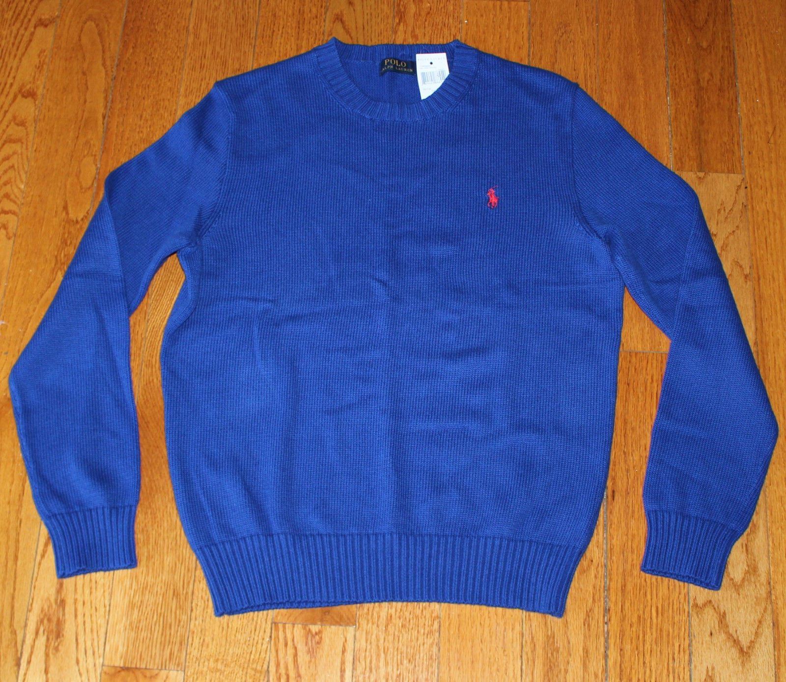 98 BRAND NEW Men s Small S POLO Ralph Lauren Knit Crewneck Sweater Blue  Cotton 76417ede213e