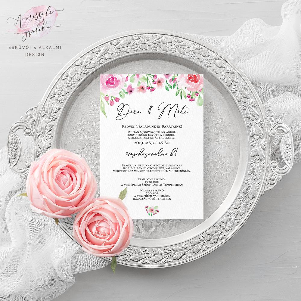 2d6a548129 Korall és menta színvilágú esküvői meghívó akvarell virágos grafikával a  vintage és romantikus stílus kedvelőinek. | Amistyle Grafika in 2019
