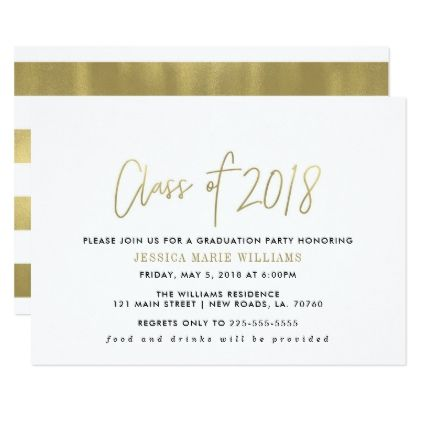 Simple Gold Graduation Party Invitations - Graduation party invitations ideas