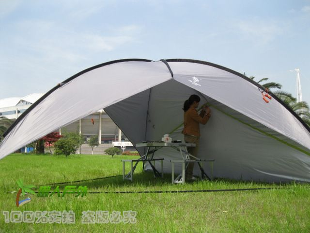 Large Outdoor Canopy Pergola Shade Beach Tent Awning 3 Side Walls Option Uv Coating Family 5 8 People Use Breathable