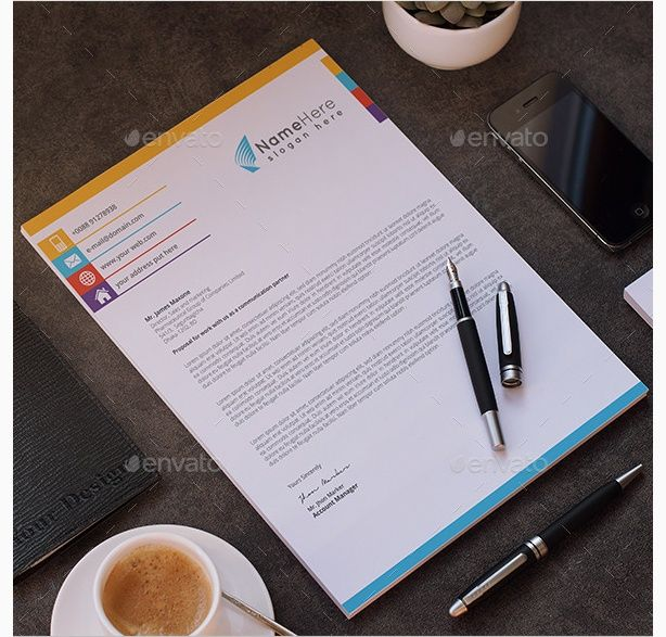 Creative Modern Corporate Letter Head Business Cards  Letterhead