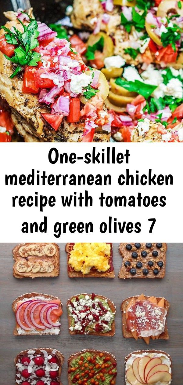 Oneskillet mediterranean chicken recipe with tomatoes and green olives 7 Wow This oneskillet Mediterranean Chicken is the BEST It takes little prep and cooks in like 15 m...
