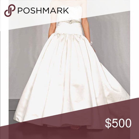 Priscilla Of Boston Wedding Gown Box Pleated Drop Waisted Ball Swarovski Crystal Belt Covered