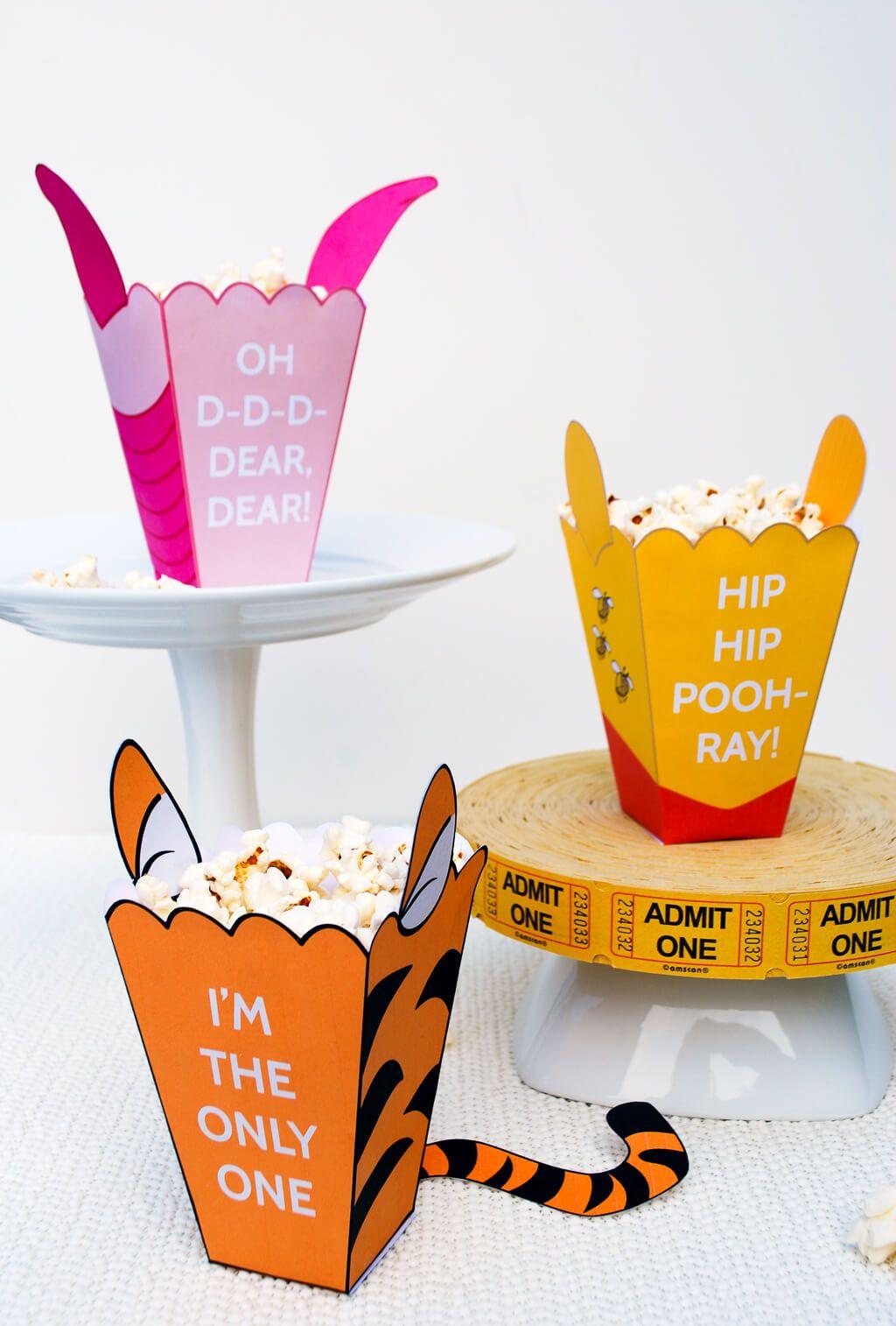 Winnie The Pooh Printable Mini Popcorn Box Template  Popcorn and