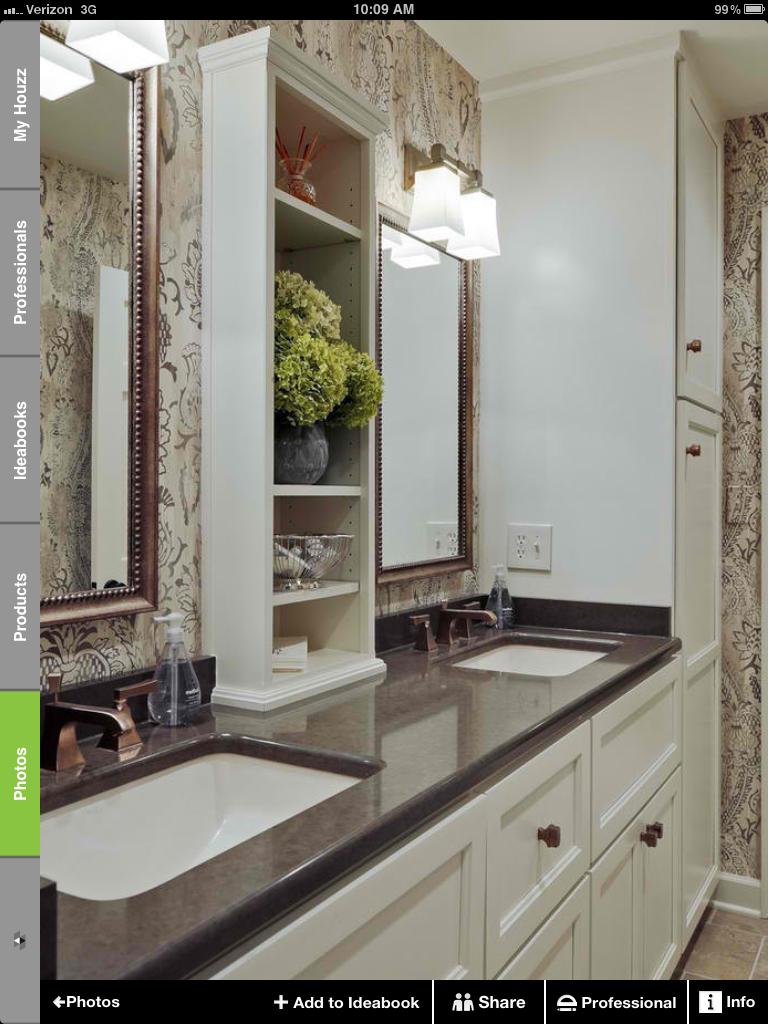 Two Sink Vanity With Middle Shelf Bathroom Vanity Storage