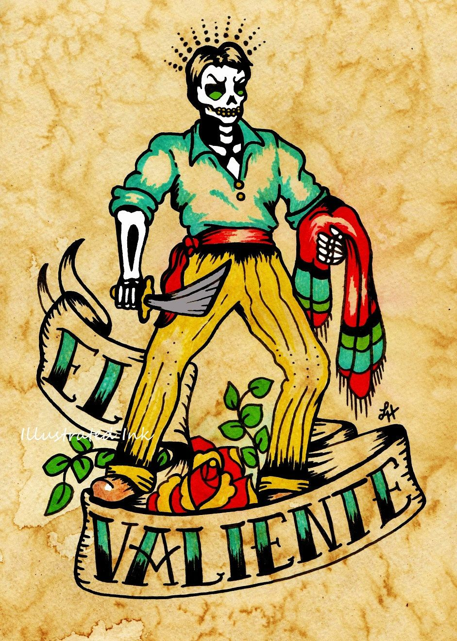 el valiente designs posters pinterest tattoo mexico tattoo and traditional tattoo. Black Bedroom Furniture Sets. Home Design Ideas