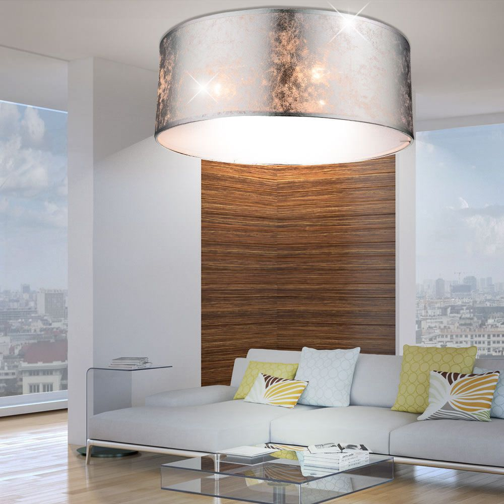 Luxus Decken Leuchte Stoff Schirm Lampe silber glänzend Wohnzimmer