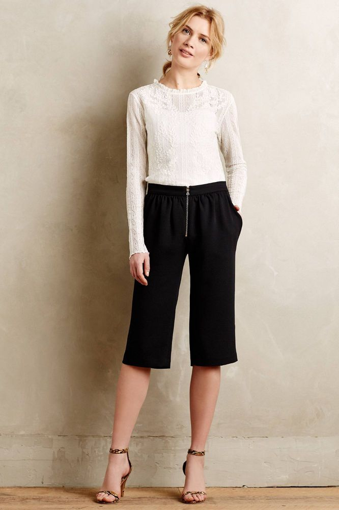 Anthropologie Corbeau Crops Sz 10, Straight Cropped Black Pants By Vanessa Bruno #VanessaBrunoAthe #DressPants