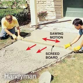How to pour a concrete sidewalk walkways cement and for Pouring your own concrete driveway