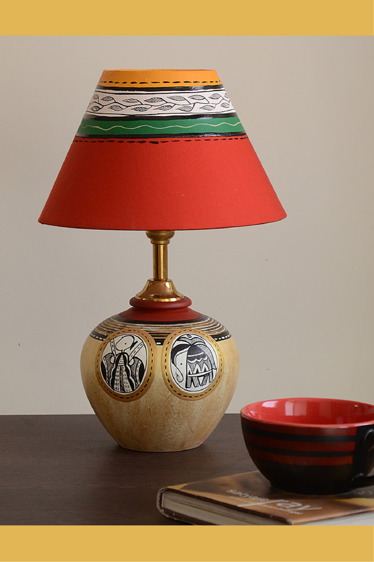 Hand painted terracotta lamp from unravelindia pottery hand painted terracotta lamp from unravelindia aloadofball Image collections