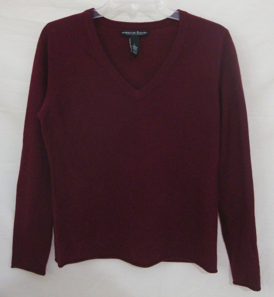 Marina Luna 100% Cashmere Sweater Luxe 2 Ply Wine VNeck Long ...