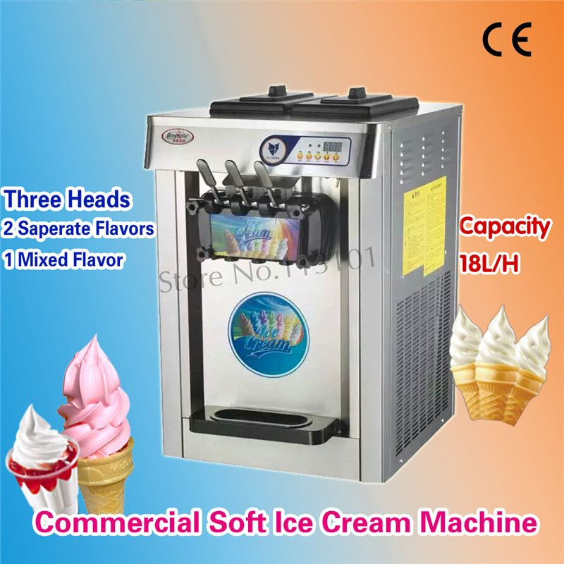 Countertop Soft Serve Ice Cream Machine 3 Heads Orange Color